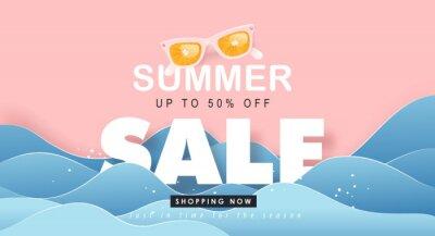 Naklejka Summer sale design with paper cut tropical beach bright Color background layout banners .Orange sunglasses concept.voucher discount.Vector illustration template.
