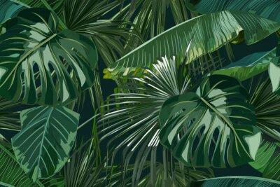 Naklejka Summer seamless pattern with tropical palm leaves. Jungle fashion print. Hawaiian background. Vector illustration