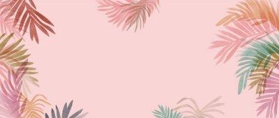 Naklejka summer tropical wall arts vector. Palm leaves, monstera leaf, Botanical  background design for wall framed prints, canvas prints, poster, home decor, cover, wallpaper.