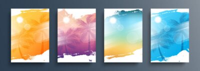 Naklejka Summertime backgrounds set with palm trees, summer sun and brush strokes for your graphic design. Sunny Days. Vector illustration.