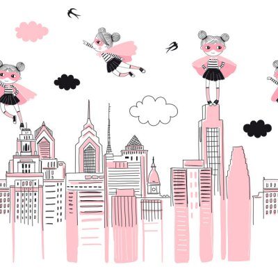 Naklejka Supergirls cartoon characters in the city fly above and stand on buildings. Girlish Superhero themed seamless border pattern. Vector doodle graphics. Perfect for little girl design like t-shirt