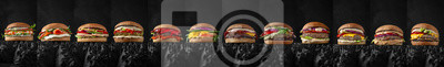 Naklejka Superset of delicious juicy beef burgers, cheeseburgers, fishburgers made from aged beef cutlets, seafood, sauces. For posters, promotions, menus. Free space for text.