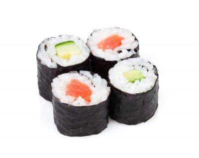Naklejka Sushi maki z łososiem i ustawić ogórka