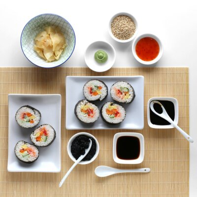 Naklejka sushi, sos sojowy, imbir i wasabi