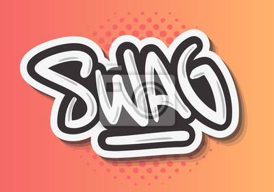 Swag Label Sign Logo Hand Drawn Brush Lettering Calligraphy Type Design Graffiti Tag Style Vector Graphic