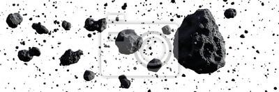 Naklejka swarm of asteroids isolated on white background