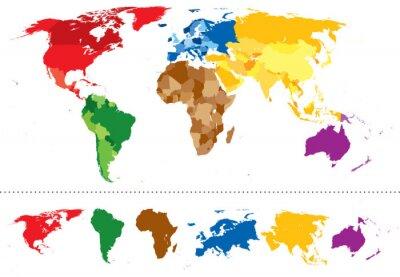 Naklejka Świat mapa kontynenty wielokolorowe