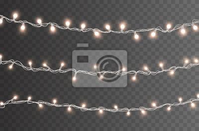 Światła żarówki na przezroczystym tle. Świecące złote girlandy świąteczne. Wektor dekoracje świąteczne nowego roku.