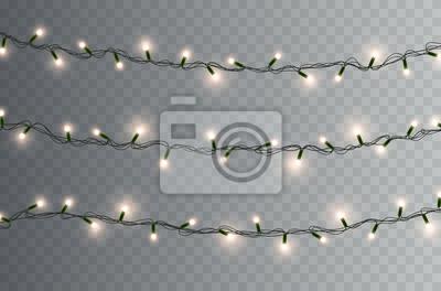 Światła żarówki na przezroczystym tle. Świecące złote girlandy świąteczne. Wektor nowy rok party światła dekoracje.