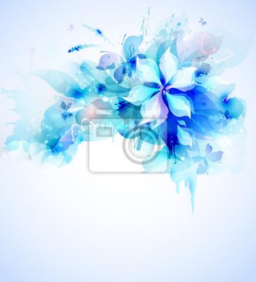 Światło abstrakcyjne niebieski plakat z bukiet kwiatów