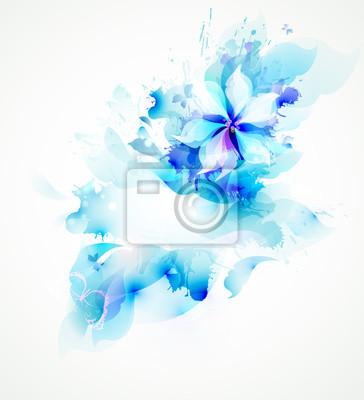 Światło abstrakcyjne niebieski plakat z kwiatem