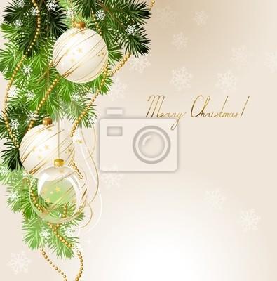 Światło Boże Narodzenie z białymi kulkami wieczornych