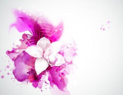 Światło kwitnienie storczyków i liści palmowych na różowym tle streszczenie
