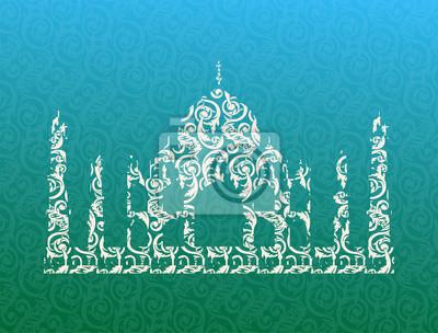 Naklejka Świątynia Taj Mahal sylwetka. Ilustracji wektorowych