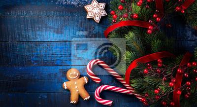 Święta Bożego Narodzenia ozdoba w Vintage drewniane tła; Boże Narodzenie mieszkanie świeckich tło