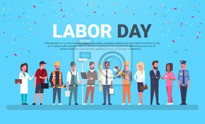 Naklejka Święto Pracy plakat Z ludźmi Różni zajęcia Nad tłem Z kopii przestrzeni Płaską Wektorową ilustracją