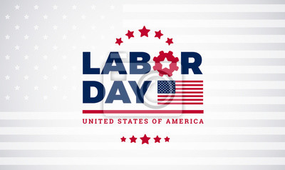 Naklejka Święto Pracy pracowników dnia świętowania literowanie z flaga amerykańską, święto pracy wektoru ilustracja