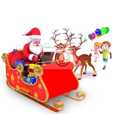 Naklejka Święty Mikołaj z reniferów i laptop