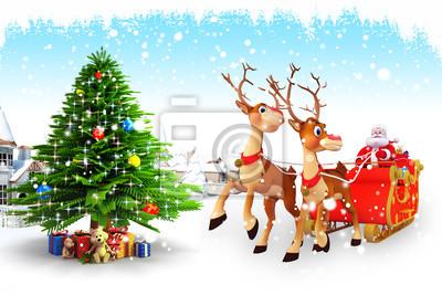 Naklejka Święty Mikołaj z saniami w pobliżu Islandii i budynków