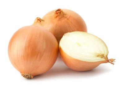 Naklejka Świeże bulwy cebuli na białym tle