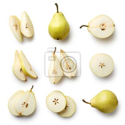 Naklejka Świeże gruszki samodzielnie na białym tle