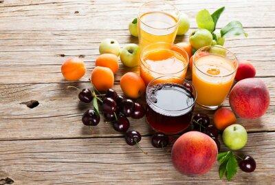 Naklejka Świeże owoce soki