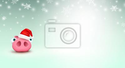 Świnia z Bożenarodzeniowym Święty Mikołaj kapeluszem na zimy tle. Śliczny prosiaczek stoi pod spadającymi płatkami śniegu. Wektor xmas lub nowy rok zabawny mały charakter świnka.