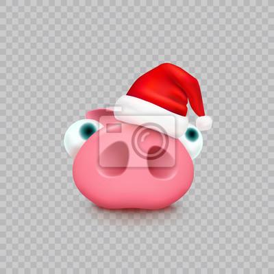 Świnia z Bożenarodzeniowym Święty Mikołaj kapeluszem odizolowywającym na przejrzystym tle. Nowy rok czerwona czapka i ładny prosiaczek. Wektor xmas zabawny mały znak piggi.