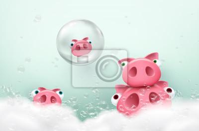 Świnie kąpią się za pomocą baniek mydlanych i białej piany. Wektor ładny prosiaczki w wannie z mydłem.
