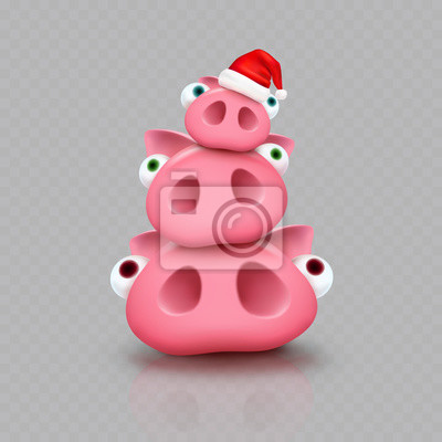 Świnie z Bożenarodzeniowym Święty Mikołaj kapeluszem odizolowywającym na przejrzystym tle. Nowy rok czerwona czapka i słodkie prosięta. Wektor xmas zabawny mały znak piggi.
