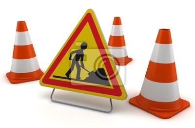 Sygnalizacja de chantier sur fond blanc 1