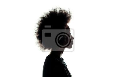 Naklejka sylwetka african american kobieta z fryzura afro na białym tle