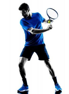 Naklejka sylwetka człowieka gracz gra w tenisa