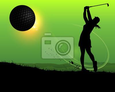 sylwetka kobiety golfa