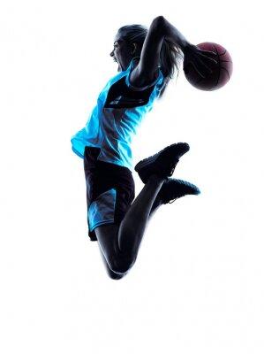 Naklejka sylwetka kobiety koszykarz