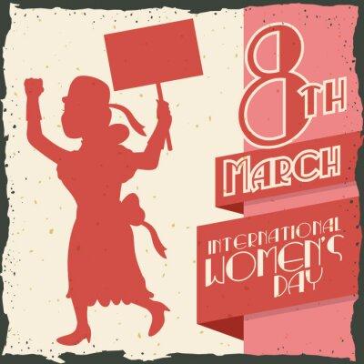 Naklejka Sylwetka kobiety maszerujących w Dzień Kobiet Retro plakat, ilustracja wektora IlVector