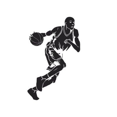 Naklejka Sylwetka koszykarz dryblingu piłkę