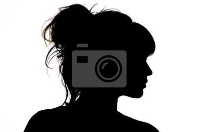 Naklejka sylwetka pięknego profilu kobiety pojęcie piękna i mody