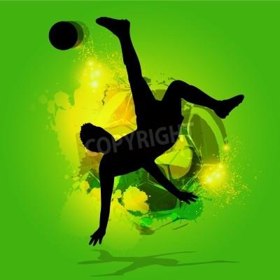 Sylwetka piłkarz Overhead Kick z tła splatter