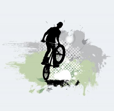 Naklejka Sylwetka skoczka rowerowego