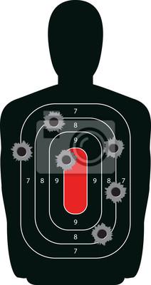 Sylwetka strzelanki strzelnicy docelowy z dziury po kulach