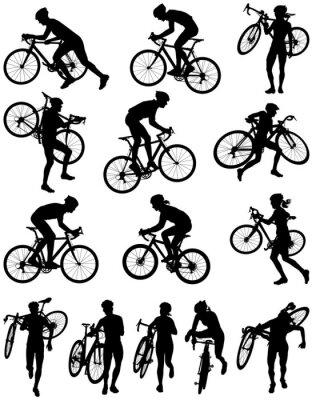 Naklejka Sylwetka wektor cyclocross wyścigi