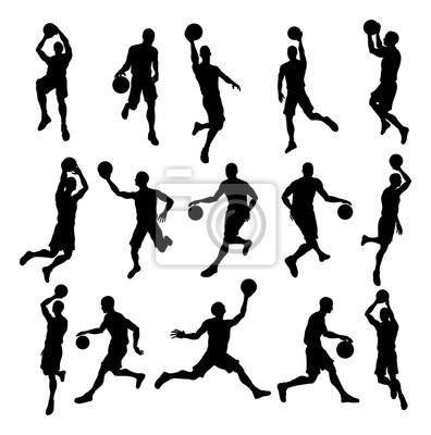 Sylwetki graczy koszykówki