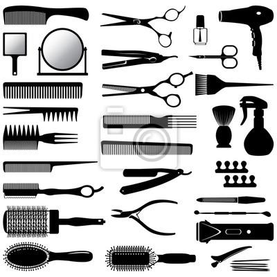 Naklejka sylwetki narzędzi dla fryzjera