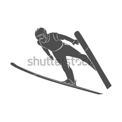 Naklejka Sylwetki skokowa narciarka na białym tle. Ilustracja zdjęcie.