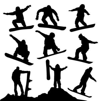 Naklejka Sylwetki snowboardowe