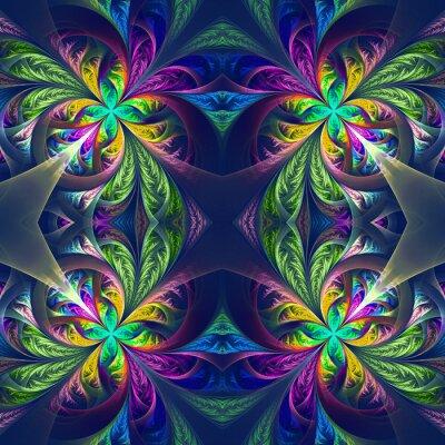 Naklejka Symetryczna wielokolorowe fraktalna maswerku. Kolekcja - mroźny Patt