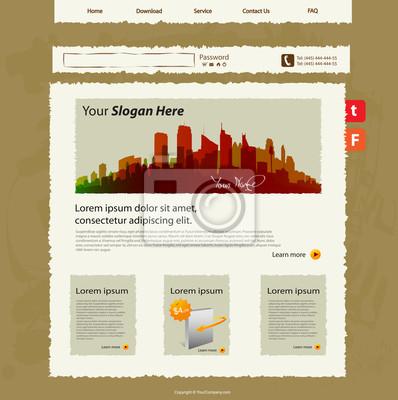 Szablon witryny sieci web Vector, design szkic dłoni
