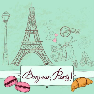 Naklejka Szablon z symboli Paryża