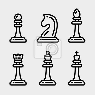 Szachy Kawałki Minimalistyczne płaskie linia Obrys Szkic Icon Set Symbol Set Collection